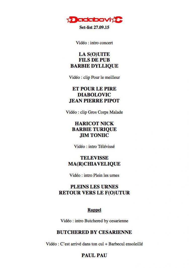 Setlist du concert de fin de résidence
