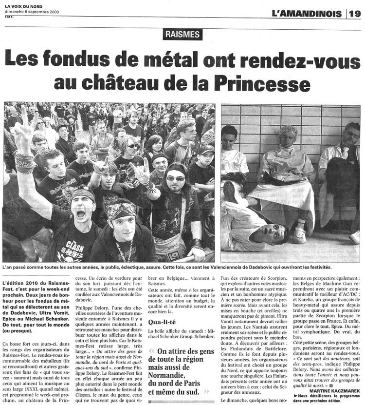 Voix du Nord, Raismes Fest, 06/09/09