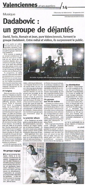 l'Observateur du Valenciennois, 24/09/10