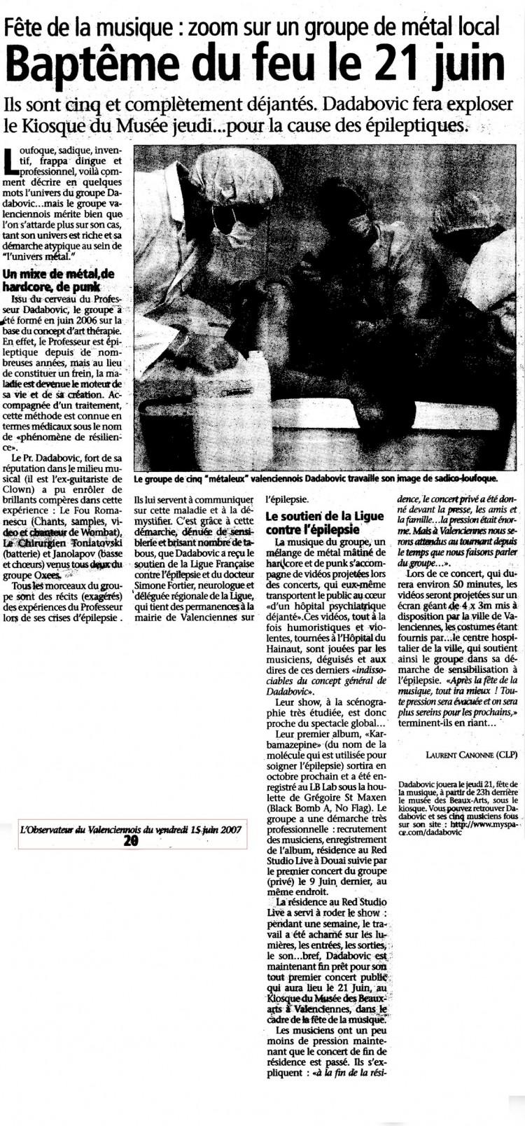 l'Observateur du Valenciennois, 15/06/07