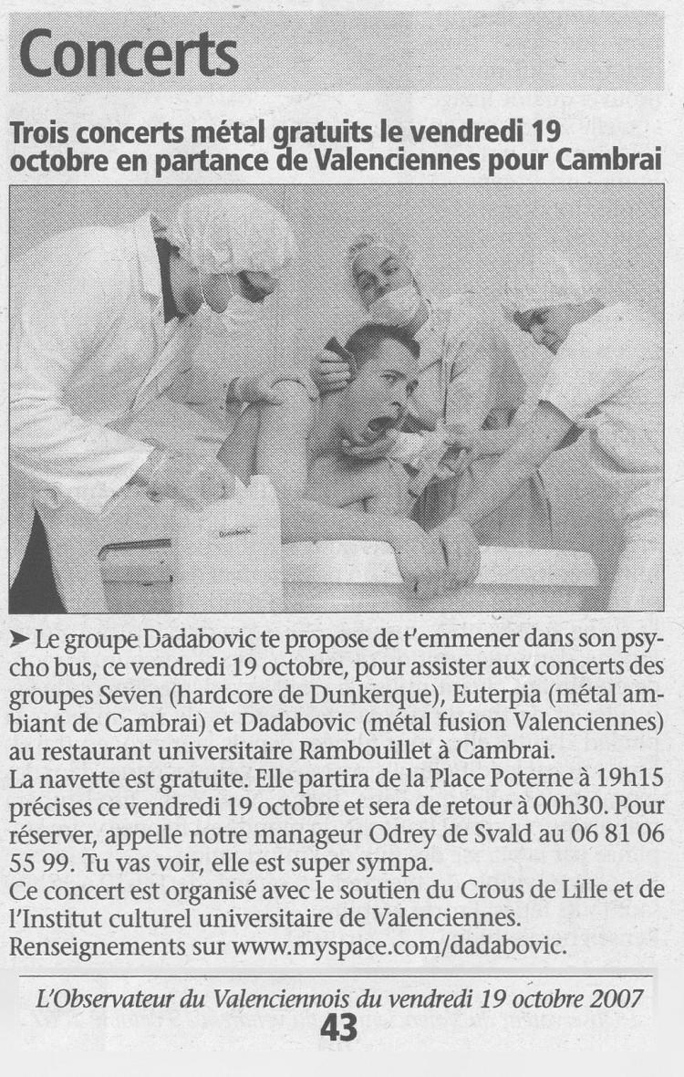 l'Observateur du Valenciennois, 19/10/07