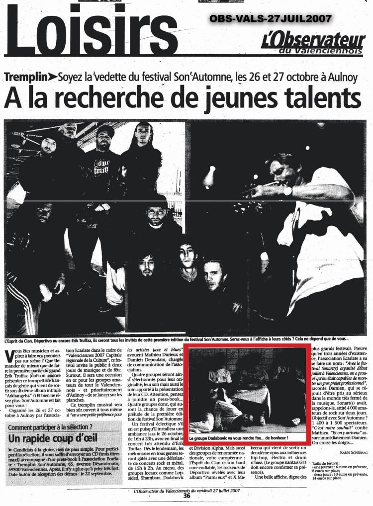 l'Observateur du Valenciennois, 27/07/07