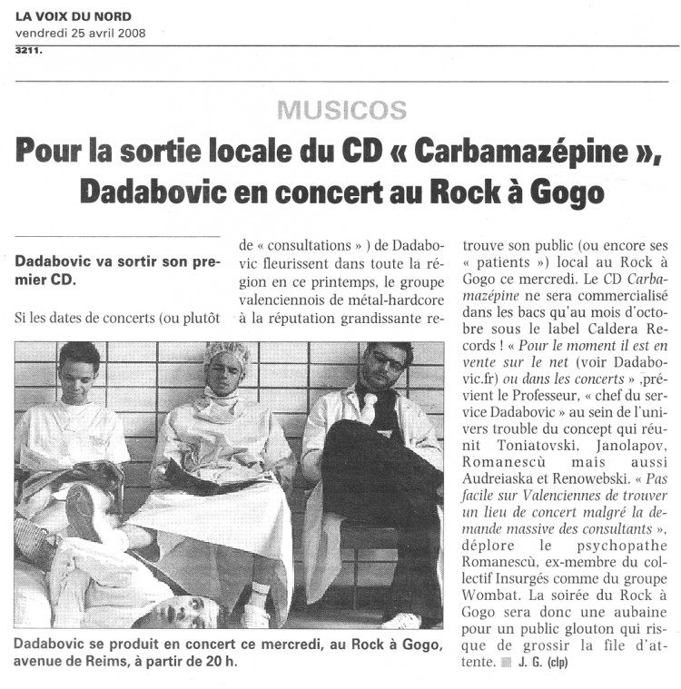Voix du Nord, 24/04/08